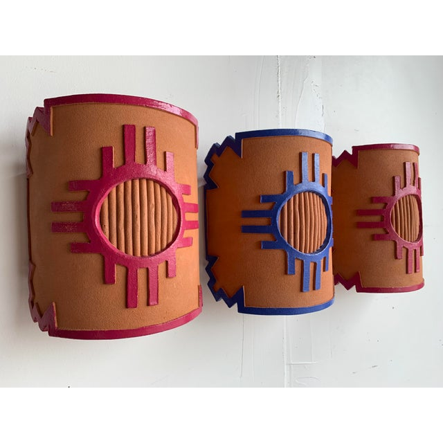 1980s Southwest Taos Terra Cotta Sconce Covers - Set of 3 For Sale - Image 13 of 13