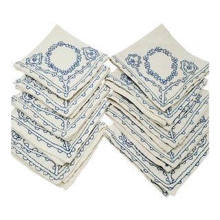 Vintage Hand Embroidered White and Blue Cotton Napkins - Set of 10 For Sale