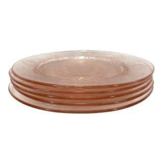 Light Pink Flower Engraved Plates, Set of 5 For Sale