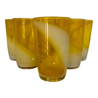 Fukuoka Tokushu Ftg Blown Glass Co. Multi Layered Formed Yellow Glasses - Set of 6 For Sale