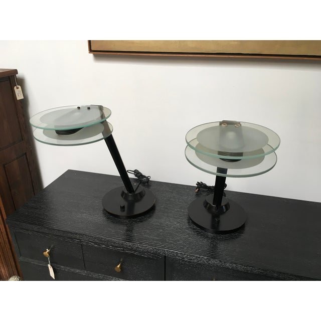 Italian Black & Glass Post-Modern Italian Table Lamps by Relco - a Pair For Sale - Image 3 of 10