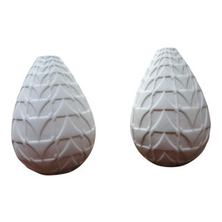 Dwell Studio Global View White Vases - a Pair For Sale