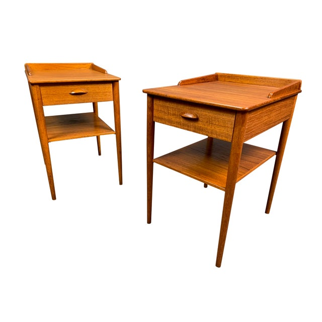 Pair of Vintage Danish Mid Century Modern Teak Side Tables by Erik Andersson For Sale - Image 10 of 10
