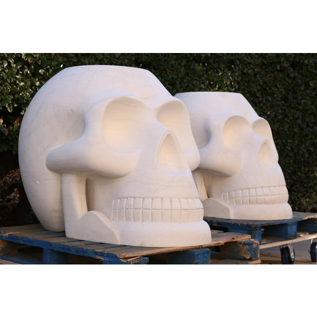 Custom Designer's Solid Carrara Marble Skull Sculptures - a Pair - Image 11 of 11