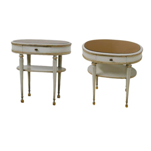 Pair of French Style White Bedside Tables in Wood and Orange Gilt Glass. 1940s For Sale