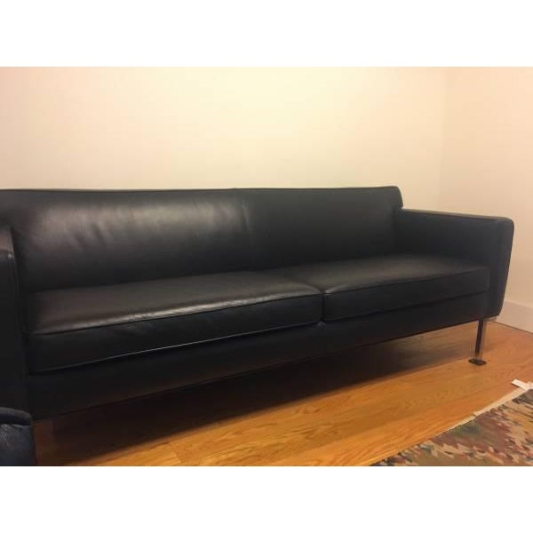 Design Within Reach Black Leather Couch - Image 3 of 4