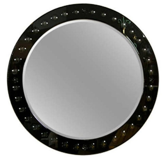 Round Black Glass Framed Mirror - Image 1 of 4