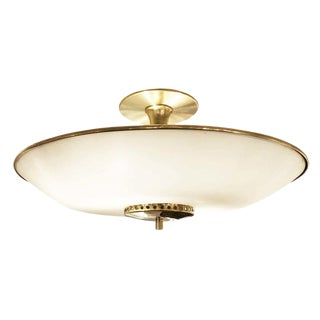 Mid-Century Frosted Glass and Brass Semi-Flush Mount For Sale