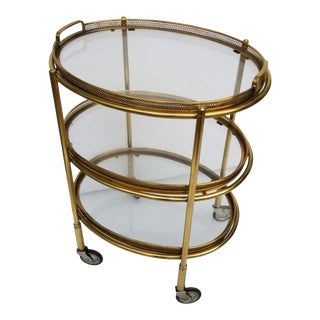 Maison Bagues Style 3 Tier Bar Cart For Sale
