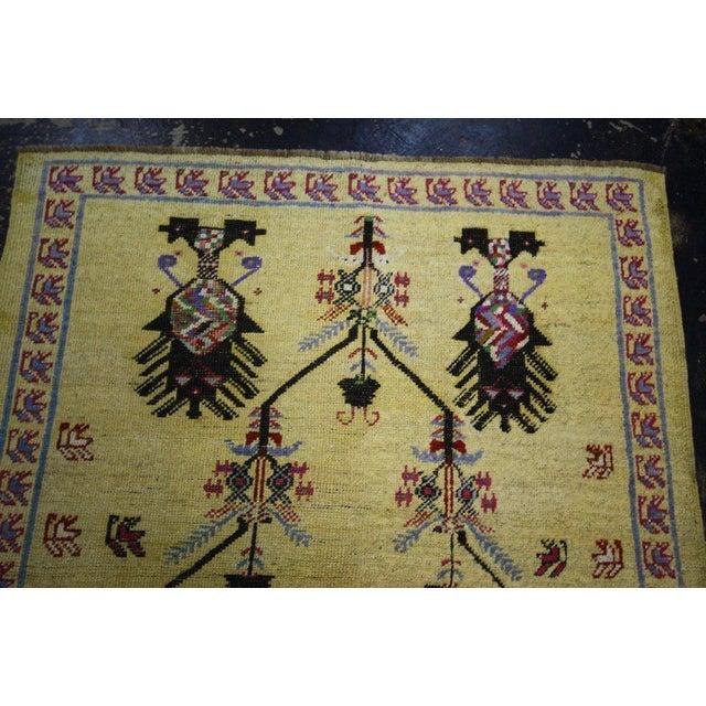Tribal Vintage Turkish Oushak Rug with Modern Style, Yellow Oushak Rug For Sale - Image 3 of 10