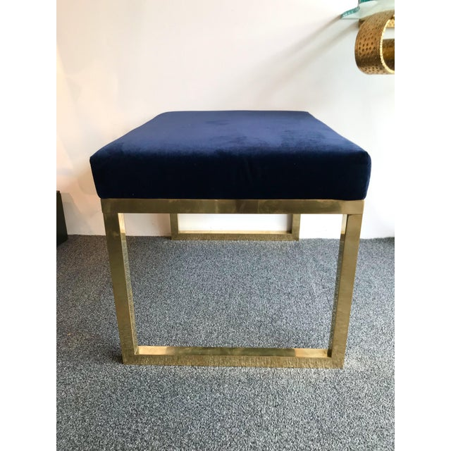 Large pair of poufs stools, footstools or ottomans in natural brass with a nice blue velvet fabric. On order different...