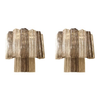 Pair of Mid-Century Modern Tronchi Clear & Beige Murano Glass Sconces, 1970s For Sale