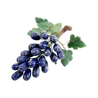 Blue Sodalite Stone Hand Carved Grape Cluster For Sale