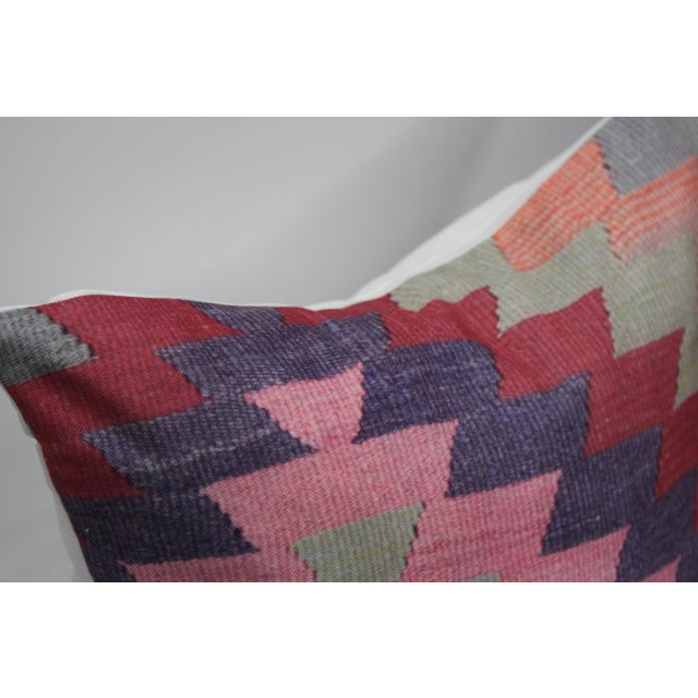 Diamond Pattern Kilim Inspired Print Pillows - a Pair-16'' - Image 5 of 6