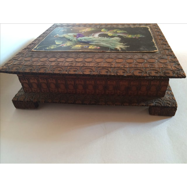Vintage Carved Box With Peacock on Painted Lid - Image 4 of 8