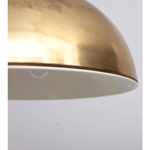 Brass Huge Brass Pendant Lamp from 1960s Italy with White Enamel Inner Shade For Sale - Image 7 of 9