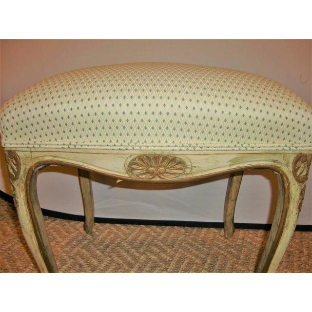 1930s French Carved and Painted Stools with Gilt - A Pair For Sale - Image 5 of 8
