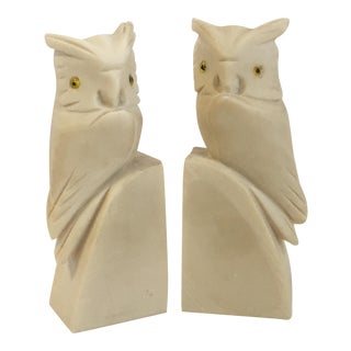 Italian Alabaster Owl Bookends - A Pair For Sale