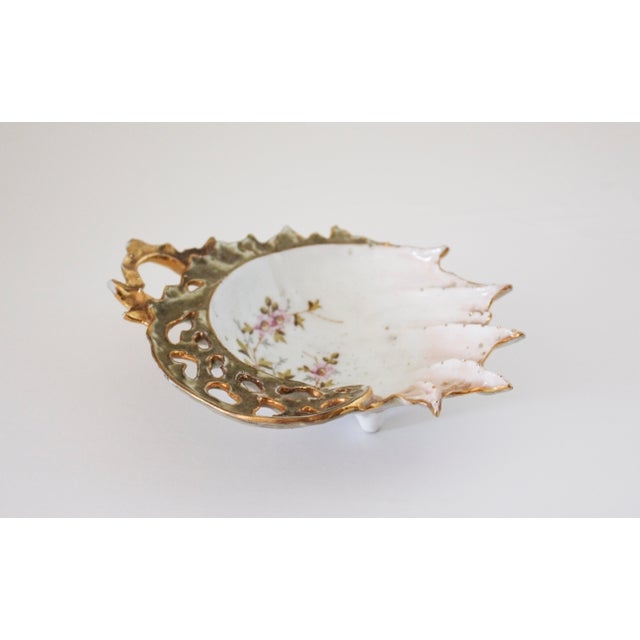 Vintage Gold Painted Shell Ring Dish For Sale - Image 4 of 4