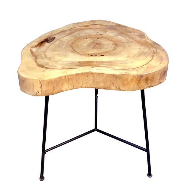 Rustic Live Edge Pine Slab End Table For Sale - Image 4 of 13