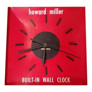 Vintage Mid-Century Modern Howard Miller Built-In Wall Clock For Sale