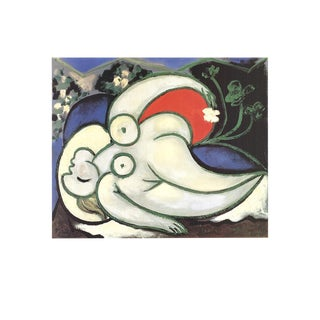 """Pablo Picasso Woman Sleeping 27.5"""" X 35.5"""" Poster Cubism Green, White, Multicolor Woman For Sale"""