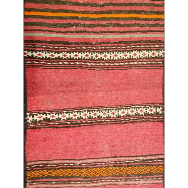 1950s Moroccan Red and Orange Wool Kilim Runner - Image 4 of 9