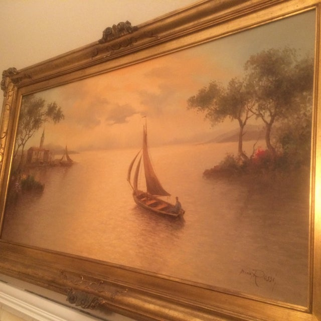 1980s Mario Rossi Serene Sailboat Oil on Canvas Painting For Sale - Image 4 of 8
