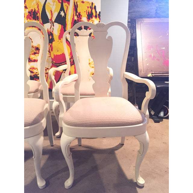 White Wood Dining Chairs - Set of 6 - Image 3 of 11