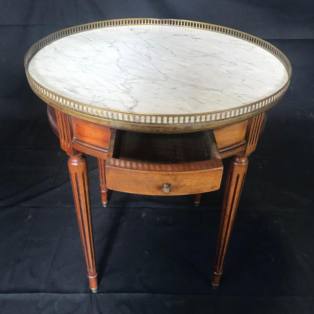 French Louis XVI Style Marble Top and Walnut Bouillotte Side Table For Sale - Image 9 of 13