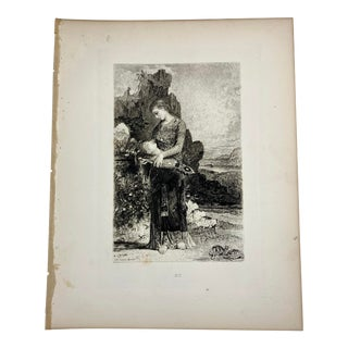 """1892 Antique Character From Milton's Poem """"Lycidas"""" Photogravure Print For Sale"""