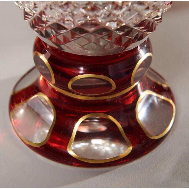 Victorian Late 19th Century Ruby & Parcel-Gilt Bohemian Glasses - Set of 12 For Sale - Image 3 of 8