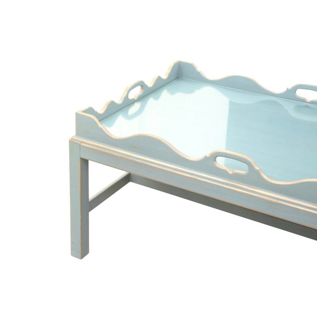 1980s Shabby Chic Lexington Scalloped Cocktail Tray Table For Sale - Image 5 of 7
