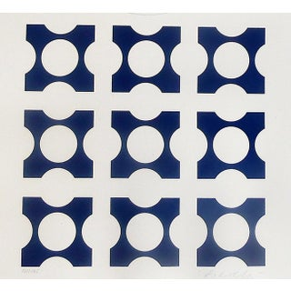 Op Art Victor Vasarely Blue Screen Print From Album I Suit For Sale
