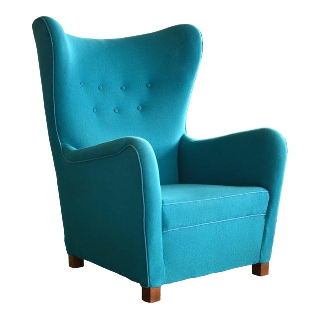 Fritz Hansen Model 1672 High Back Lounge Chair Danish Mid-Century, 1940s For Sale