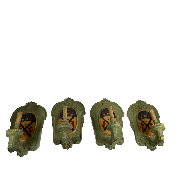 Green Vintage Italian Wood Sconce With Crest - a Pair For Sale - Image 8 of 12