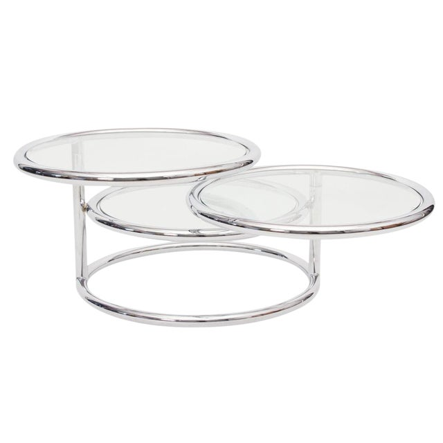 Convertible Chrome & Glass Cocktail Table after Pace For Sale