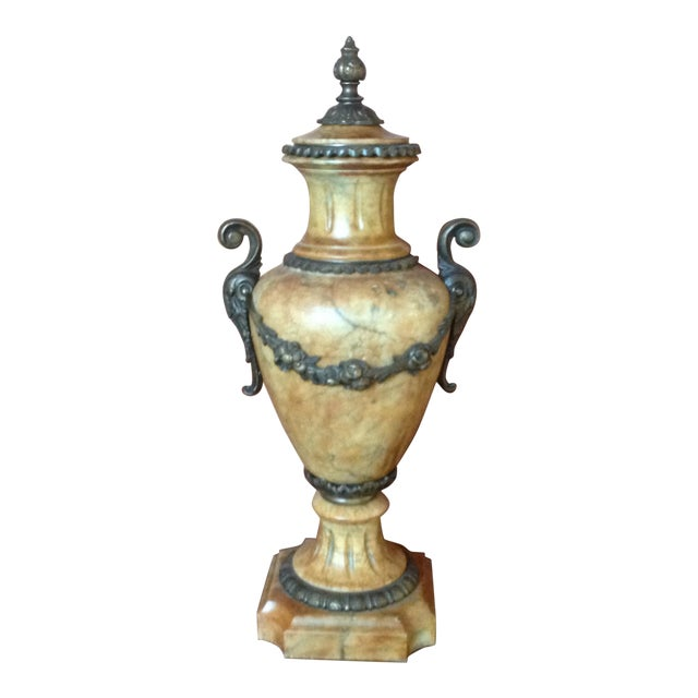 Antique French Marble Urn With Lid For Sale