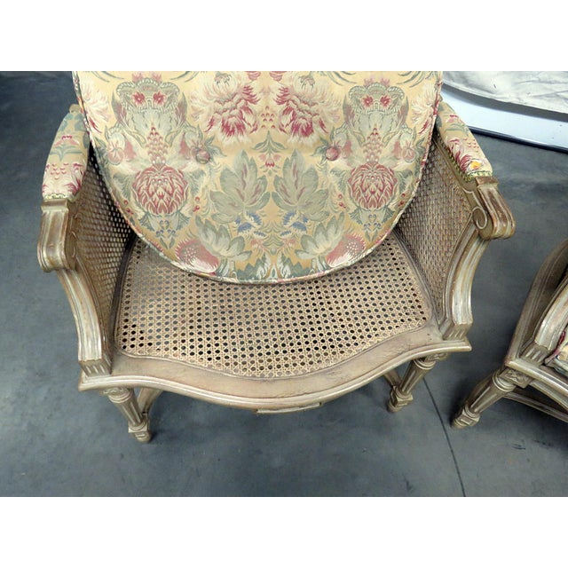 Louis XVI Style Bergeres - a Pair For Sale - Image 4 of 8