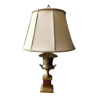 Classic Silver Plate and Brass Urn Lamp with Shade For Sale