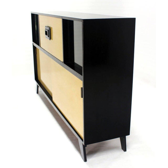 Mid Century Modern Credenza Black Lacquer Gredenza Bar Liquor Cabinet For Sale - Image 4 of 8