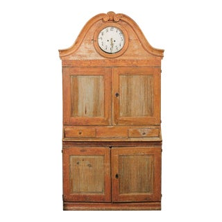 Swedish Early 19th Century Karl Johan Clock Cabinet of Orange Color For Sale