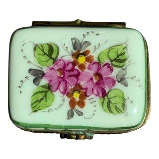 Vintage Porcelain Floral Themed Limoges Box For Sale