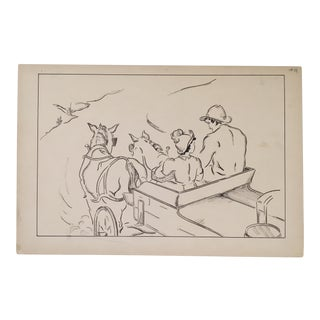 "Vintage ""Heidi - A Journey by Wagon"" Pen and Ink Drawing For Sale"