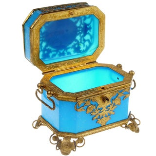 French Toilette Box in Blue Opaline For Sale