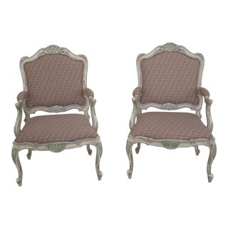 1990s Vintage French Louis XV Style Paint Decorated Arm Chairs- A Pair For Sale