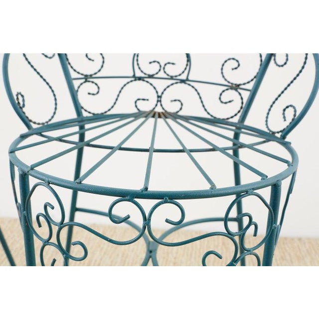Green Pair of Salterini Style Iron Garden Patio Chairs For Sale - Image 8 of 13