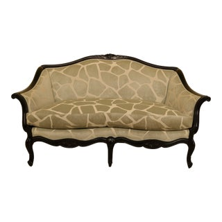 Modern French Style Upholstered Loveseat Sofa For Sale
