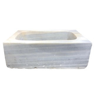 Reclaimed Oblong Marble Sink For Sale