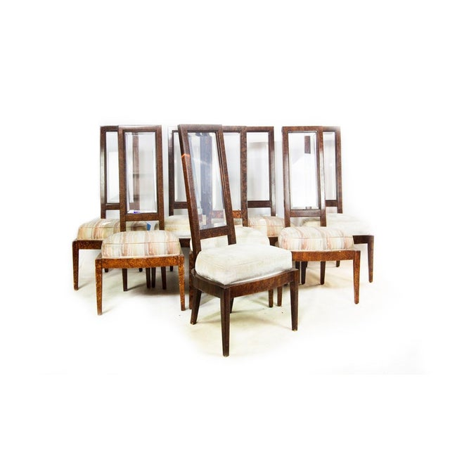 Lucite and Birdseye Maple Veneer Mid-Century Modern Dining Chairs - Set of 8 - Image 2 of 11